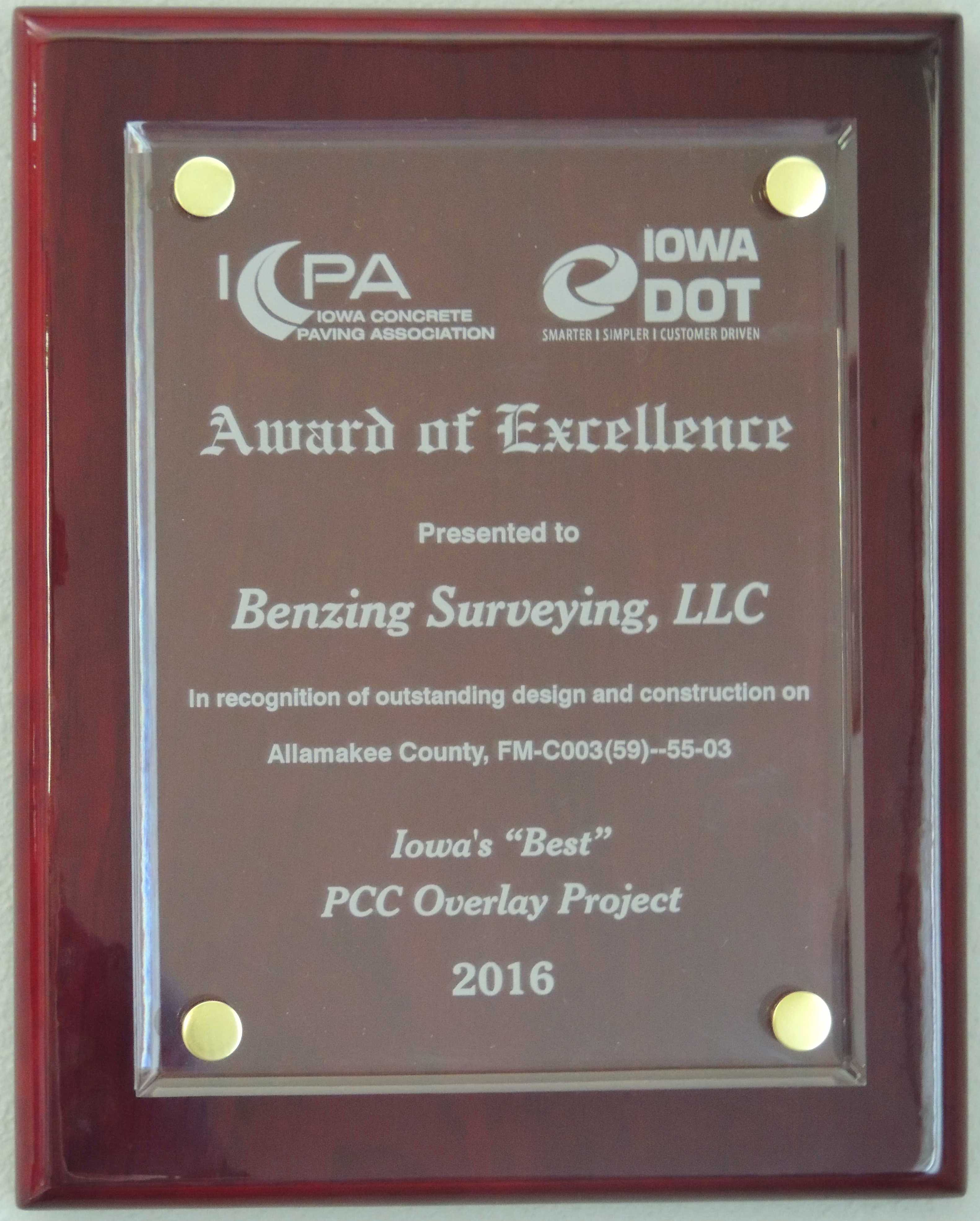 Award for Best Concrete Overlay Project in Iowa!